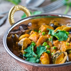 Aubergine Butter Beans Peas Curry