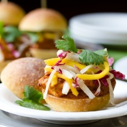 Easy Indian Butter Chicken Sliders with Picked Mango Slaw