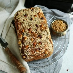 Kamut Spelt Bread with Dried Plums Hazelnuts and Sesame