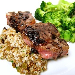 Lamb with Balsamic Sauce and 7 Whole Grain Pilaf