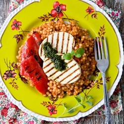 Pearl Couscous with Grilled Tofu and Red Peppers Recipe