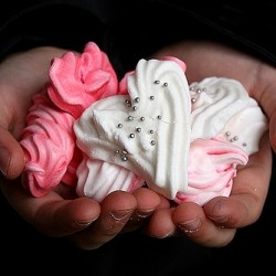 Pink Red and White Heart Shaped Meringues