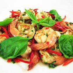 Prawns with Basil and Chili Stir Fry
