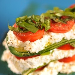 Ricotta Salad Stack with Homemade Ricotta Cheese