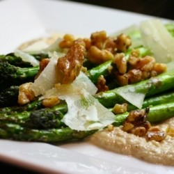 Roasted Asparagus with Walnut Crema and Truffle Oil