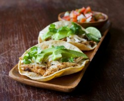 Roasted Chicken Tacos with Manchego Cheese and Avocado