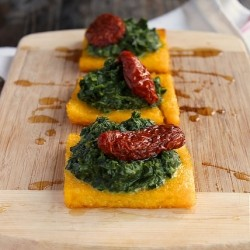 Roasted Polenta with Spinach and Sun Dried Tomatoes Recipe