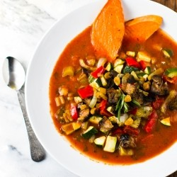 Roasted Vegetable Soup with BBQ Snow Cap Beans