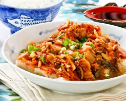 Steamed Cod with Kimchi
