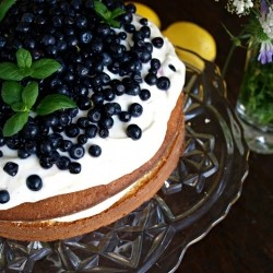 White Cake with Lemon Cream Cheese Frosting and Blueberries Recipe