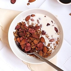 Almond and Dried Cranberry Granola with Coconut Oil and Cinnamon