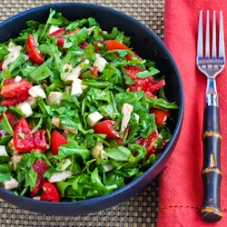 Baby Arugula Chopped Salad with Chicken Mozzarella and Tomatoes