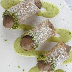 Cannoli with Chocolate Mascarpone Cream and Pistachio Sauce