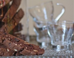 Chocolate Biscotti with Almonds and Dried Cherries