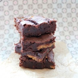 Dark Chocolate Brownies with Dulce de Leche and Caramel