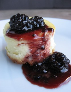Goat Cheesecakes with Blackberry Compote