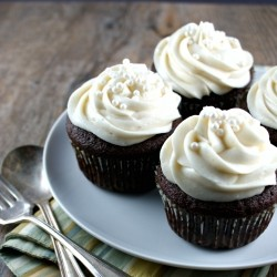 Guinness Beer Cupcakes with Whiskey Ganache and Baileys Frosting