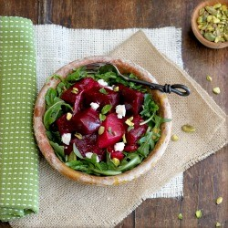 Marinated Beet Salad with Goat Cheese and Pistachios