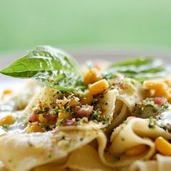 Pasta with Corn Pancetta Basil and Burrata