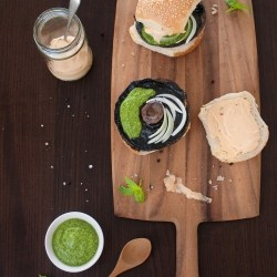Portobello Mushroom Burgers with Chipotle Mayo Basil Pesto