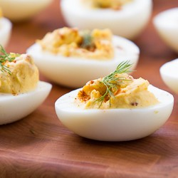 Sambal Oelek Deviled Eggs