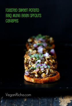 Sweet Potato Canapes with BBQ Mung Bean Sprouts