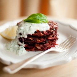 Vegetable Fritters with Juniper and Mint Yoghurt Dip