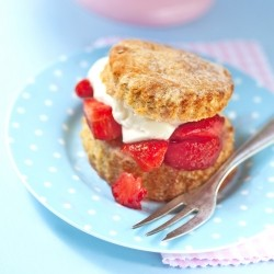 Yogurt Shortcakes with Whipped Cream and Strawberries