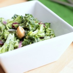 Broccoli Slaw with Cashews and Dried Cranberries