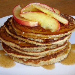 Buttermilk Cornmeal Pancakes with Caramel Apple Topping