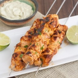 Chipotle Chicken Kebabs with Avocado Cream Sauce Recipe