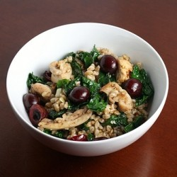Farro Salad with Kale Chicken and Cherries
