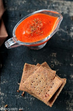 Flaxseed Crackers with Red Bell Pepper Dip Recipe