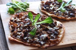 Grilled Flatbreads with Shiitake and Roasted Onions