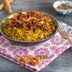 Lentils and Rice with Crisp Salty Sweet Fried Onions