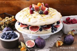 Meringue Cake with Mascarpone Figs Blueberries and Nuts Recipe
