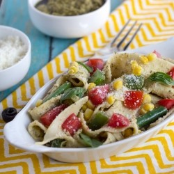 Pappardelle Pasta with Summer Vegetables and Pesto Ricotta Sauce Recipe