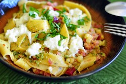 Pasta with Corn Burrata Cheese Pancetta and Chiles