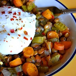 Poached Eggs atop Lentils with Mirepoix