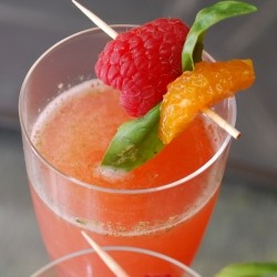 Raspberry Sparklers with Basil and Champagne