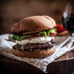 Red Wine Burgers with Mushrooms Goat Cheese Heirloom Tomato Salad