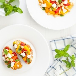 Roasted Peppers Feta Cheese mint Tartines Recipe