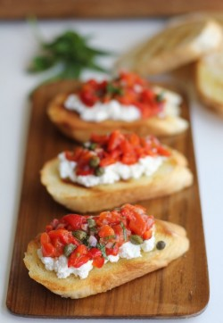 Roasted Red Pepper and Ricotta Bruschetta Recipe