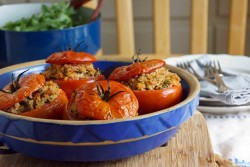 Roasted Tomatoes Stuffed with Quinoa Tuna Capers and Herbs Recipe