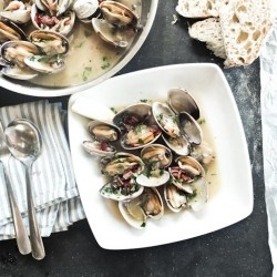 Steamed Clams with Serrano Ham White Wine