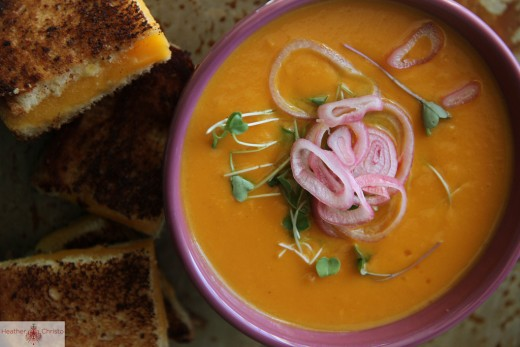 Sweet Potato Carrot and Cheddar Soup