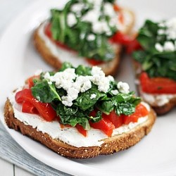 Tartines with Goat Cheese Red Bell Peppers and Swiss Chard