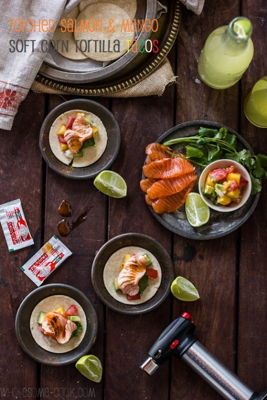 Torched Salmon and Mango Tacos