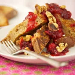 Whole Wheat French Toast with Cranberries and Walnuts