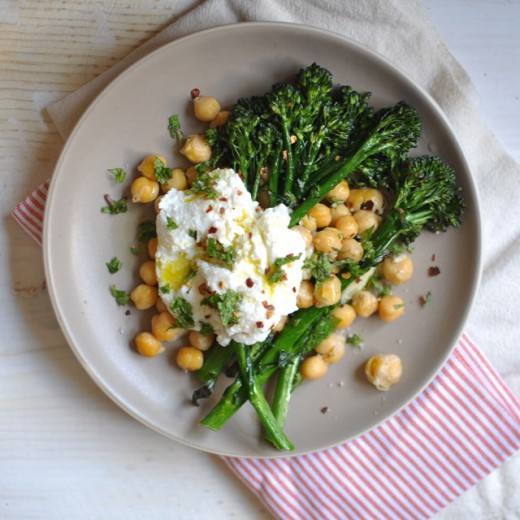 Crispy Broccolini Chickpea and Ricotta Salad